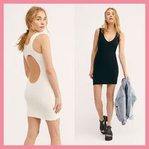 Free People Short Casual Style Tight Sleeveless U-Neck Plain Cotton