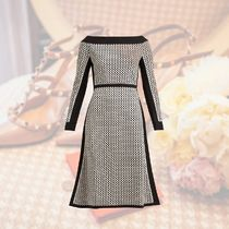 FENDI Flared Boat Neck Long Sleeves Medium Elegant Style Dresses