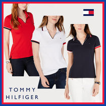 Tommy Hilfiger V-Neck Plain Cotton Medium Short Sleeves Office Style