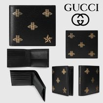 GUCCI Star Leather Folding Wallets