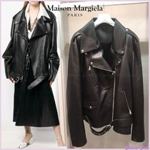Maison Martin Margiela Street Style Plain Leather Medium Oversized Biker Jackets