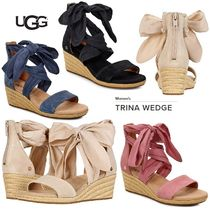 UGG Australia Open Toe Casual Style Suede Plain Platform & Wedge Sandals