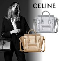 CELINE Luggage Lambskin 2WAY Plain Party Style Shoulder Bags