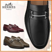HERMES Loafers Blended Fabrics Plain Leather Home Party Ideas