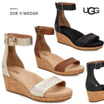 UGG Australia Open Toe Casual Style Plain Leather Platform & Wedge Sandals