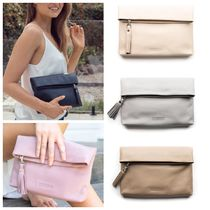 STITCH & HIDE Casual Style Tassel Plain Leather Handmade Clutches