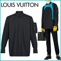 Louis Vuitton Button-down Monogram Blended Fabrics Street Style