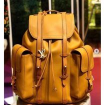 Louis Vuitton CHRISTOPHER Blended Fabrics Street Style A4 2WAY Plain Leather Backpacks