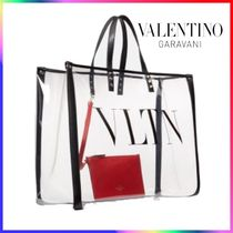 VALENTINO Monogram Casual Style Blended Fabrics Crystal Clear Bags