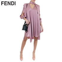 FENDI Short A-line V-Neck Long Sleeves Plain Focused Brands