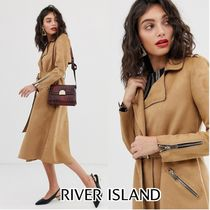 River Island Suede Plain Long Elegant Style Trench Coats