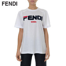 FENDI Short Casual Style Street Style Cotton Short Sleeves Cropped