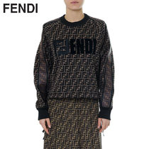 FENDI Crew Neck Short Monogram Long Sleeves Cotton Cropped