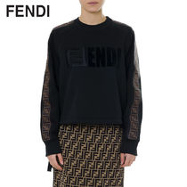 FENDI Crew Neck Short Long Sleeves Plain Cotton Cropped
