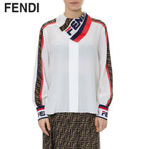 FENDI Casual Style Silk Long Sleeves Plain Medium