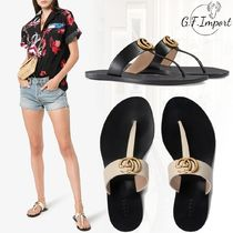 GUCCI Casual Style Leather Flip Flops Flat Sandals