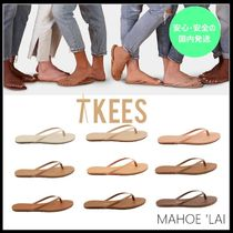 TKEES NUDES Open Toe Rubber Sole Casual Style Leather Flip Flops