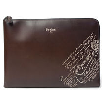Berluti Unisex A4 Leather Clutches