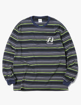thisisneverthat Crew Neck Stripes Unisex Street Style Long Sleeves Cotton