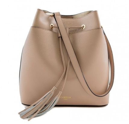 Casual Style Tassel 2WAY Plain Leather Purses Shoulder Bags