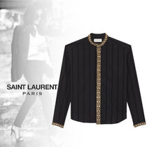 Saint Laurent Stripes Long Sleeves Cotton Shirts & Blouses