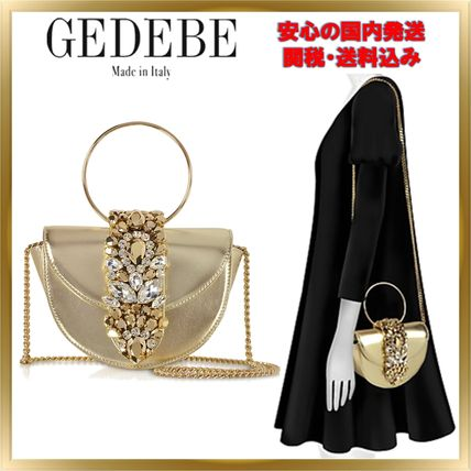 Chain Plain Leather With Jewels Elegant Style Shoulder Bags
