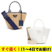 PRADA Canvas Blended Fabrics 2WAY Straw Bags