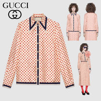 GUCCI Heart Flower Patterns Casual Style Silk Long Sleeves Medium