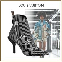 Louis Vuitton Stripes Blended Fabrics Bi-color Leather Pin Heels