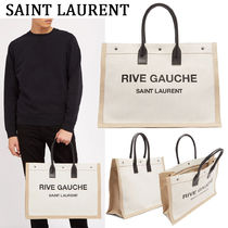 Saint Laurent Unisex Canvas A4 Plain Totes