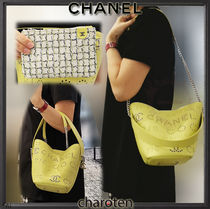 CHANEL ICON Calfskin Studded 3WAY Chain Plain Elegant Style