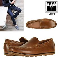 FRYE Driving Shoes Plain Leather Loafers & Slip-ons