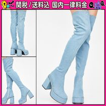DOLLS KILL Platform Round Toe Casual Style Plain Over-the-Knee Boots