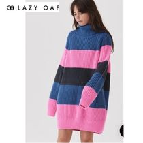 LAZY OAF Stripes Casual Style Long Sleeves Cotton Medium Turtlenecks