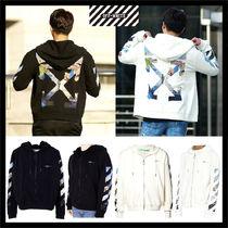 Off-White Unisex Street Style Long Sleeves Cotton Hoodies