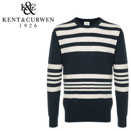 Crew Neck Stripes Wool Long Sleeves Plain Knits & Sweaters
