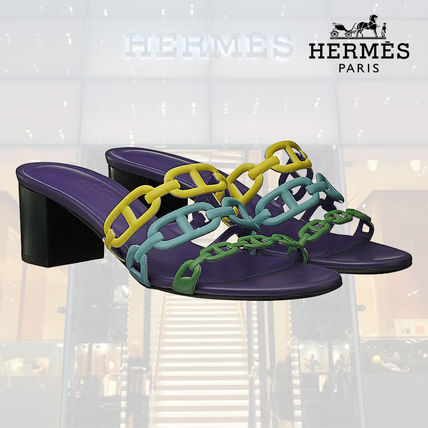 b9aef138b09 ... HERMES More Sandals Open Toe Blended Fabrics Chain Plain Leather Block  Heels ...