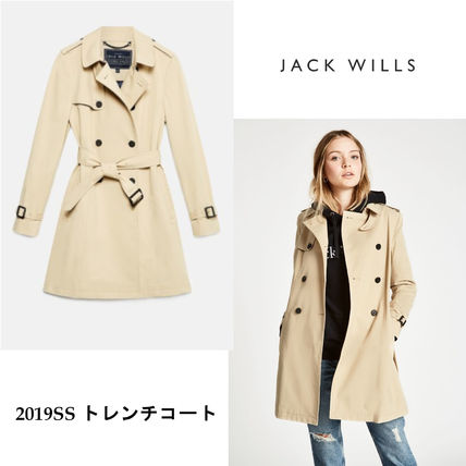 Stand Collar Coats Casual Style Plain Medium Trench Coats