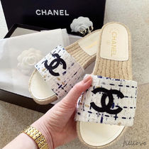 CHANEL Open Toe Casual Style Blended Fabrics Plain Handmade Sandals