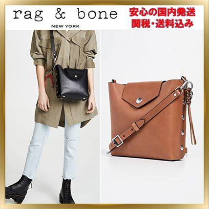 Bag in Bag Plain Leather Elegant Style Shoulder Bags