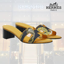 HERMES Open Toe Blended Fabrics Street Style Plain Leather