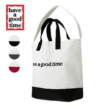 have a good time Casual Style Unisex Canvas A4 2WAY Plain Totes