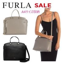 FURLA A4 2WAY Plain Leather Office Style Totes