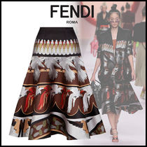 FENDI Silk Circle Skirts Other Animal Patterns Medium