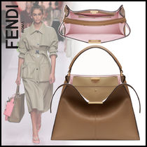 FENDI PEEKABOO 2WAY Plain Leather Elegant Style Handbags