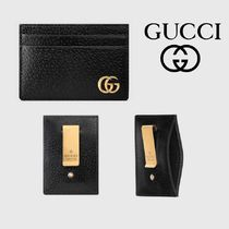 GUCCI GG Marmont Calfskin Plain Card Holders