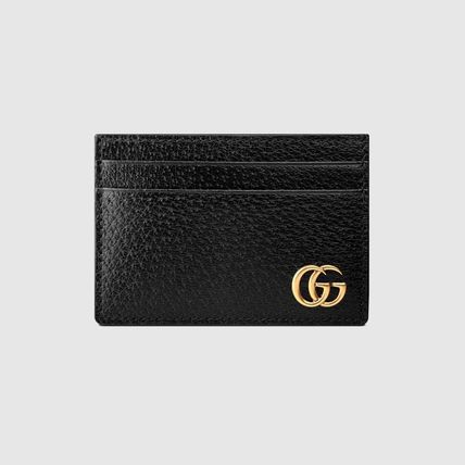 GUCCI GG Marmont Calfskin Plain Logo Card Holders