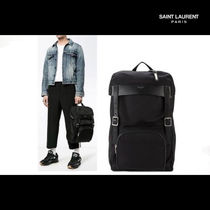 Saint Laurent Unisex Nylon Blended Fabrics A4 Backpacks
