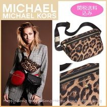 Michael Kors Leopard Patterns Casual Style Nylon Shoulder Bags