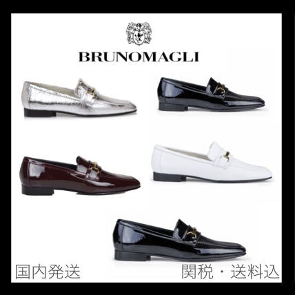 Casual Style Unisex Enamel Bold Loafer Pumps & Mules